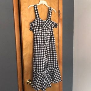 J Crew Black and White Check Sundress